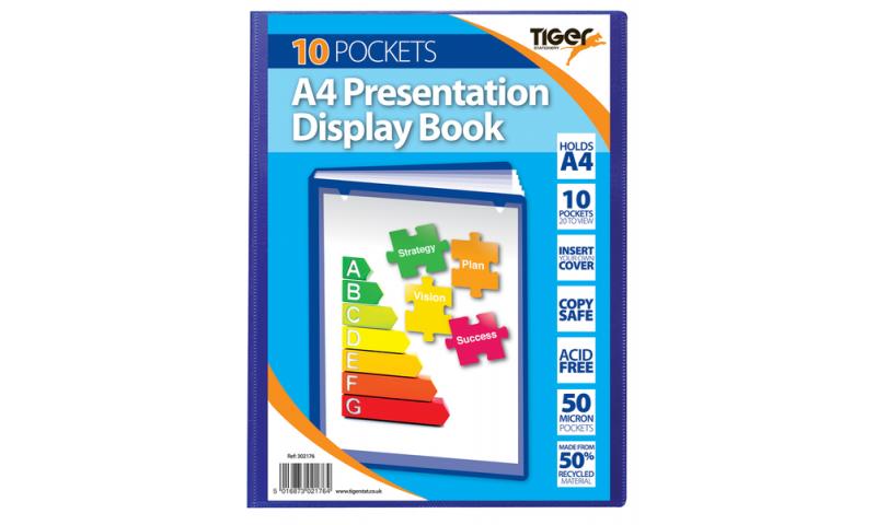 Tiger A4 Presentation Display Book, 10 Pocket 50 micron Blue