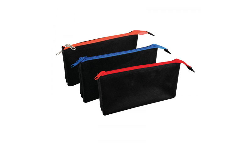 Tiger Triple Pocket Flat Pencil Case, contrast zips, 3 Asstd (New Reduced Price for 2021)