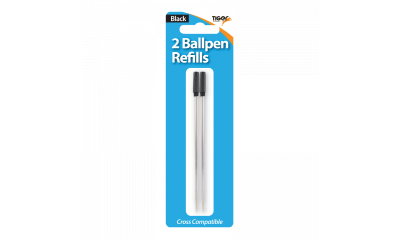 Tiger Cross Size Ballpen Refill, Pack of 2, Carded, Black Ink.  (New Lower Price for 2021)