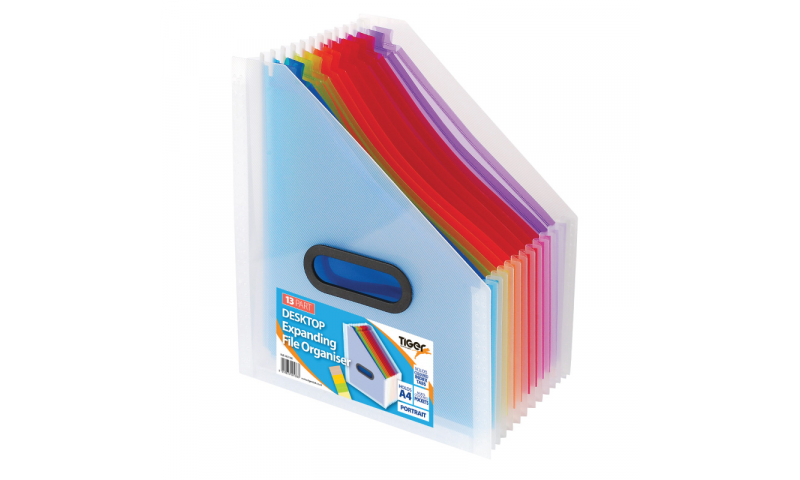 Tiger Desktop Expanding Organiser, 13 Part with Index tabs, Carry Handle, Portrait.  (New Lower price for 2021)
