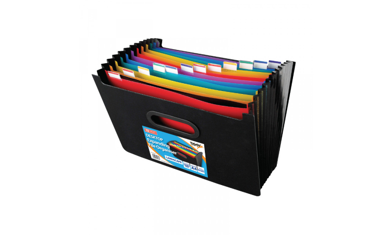 Tiger Desktop Expanding Organiser, 13 Part with Index tabs & Carry Handle, Landscape.  (New Lower price for 2021)