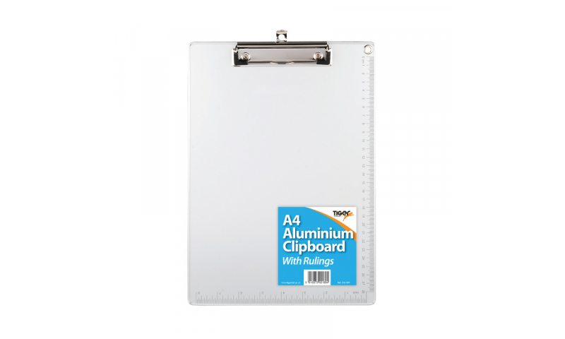 Tiger A4 Aluminium Clipboard with Edge Ruler (New Lower price for 2021)