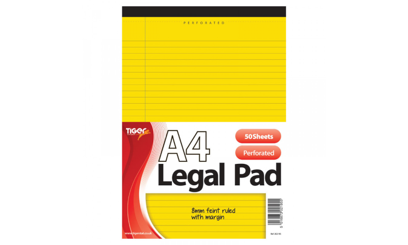 Tiger A4 Legal Pad, Headbound, 50 Pages, Yellow 70gsm Paper.  (New Lower price for 2021)