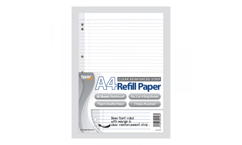 Tiger A4 Refill Paper, 50 Sheets, with Multipunched Reinforced Strip, Perforated