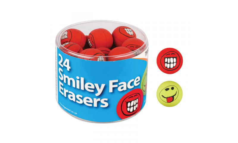 Tiger Smiley Face Erasers, Ball Shape, Tubbed.
