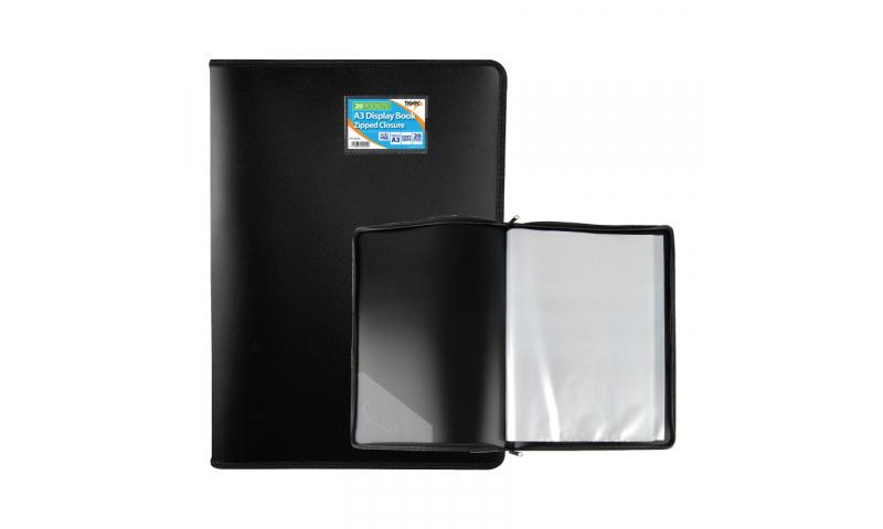 Tiger ECO A3 Zip Around Display Book, Black, with 20 Pockets.