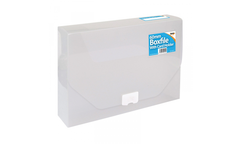 Tiger Box File Clear with Clip Closure & Card Holder, 60mm Spine Capacity. (New Lower price for 2021)