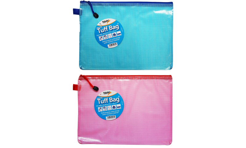 Tiger Pastel A4+ Tuff Bag 360x260mm, 300mic, Pastel Blue & Pink. (New Lower Price for 2021)