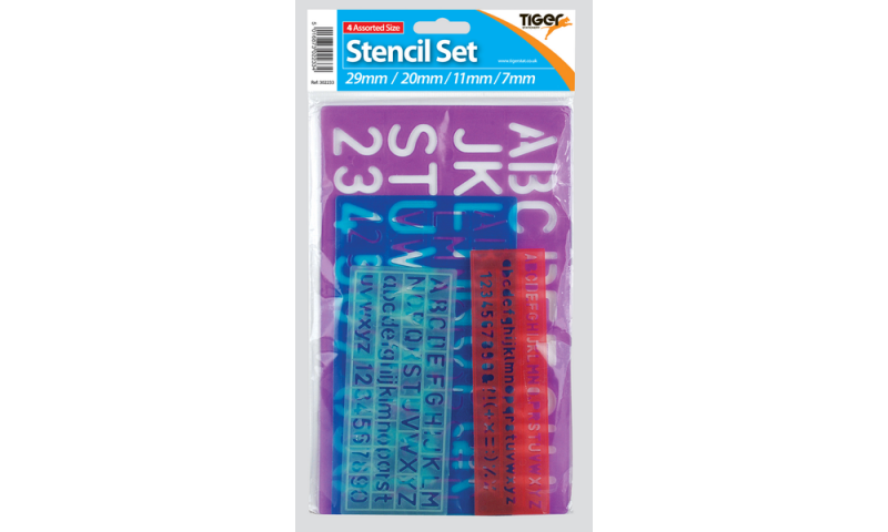 Tiger Lettering 4 Piece Colourful Stencil Set, Hangpacked