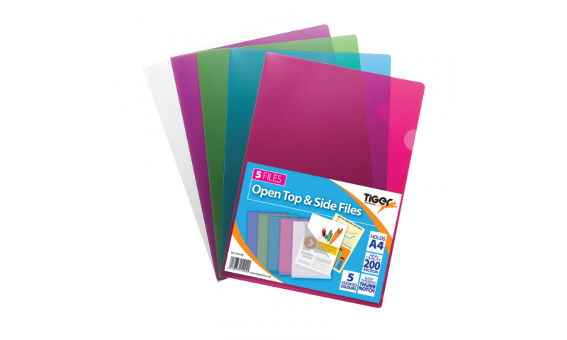 Tiger A4 Open Top & Side Letter Files, Strong 200mic, pack of 25, Asstd Colours.  (New Lower price for 2021)
