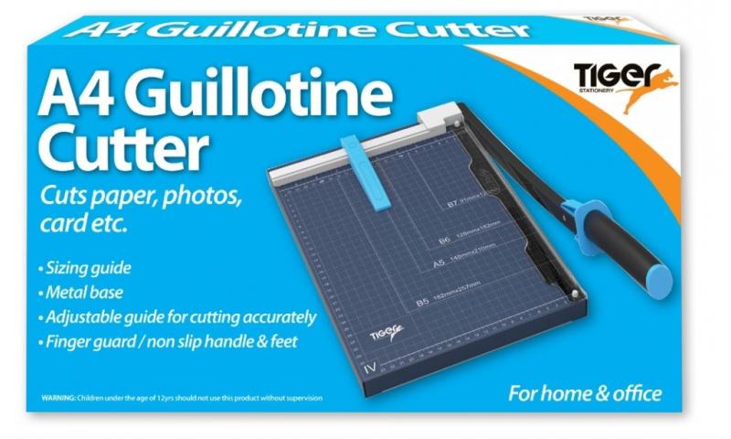 Tiger Metal Base Guillotine A4, 10 Sheet Capacity, with Finger Guard