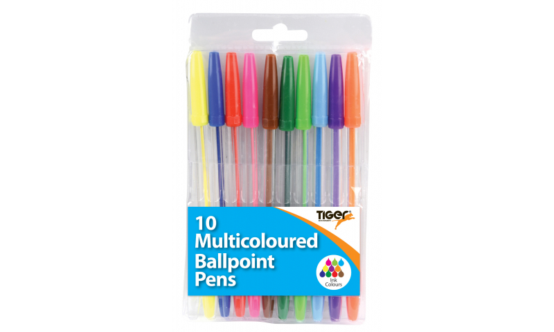 Tiger Stick Pen, Bright Multicolour Assortment of 10, Hangpacked. (New Lower Price for 2021)