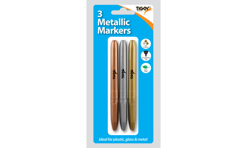 Tiger Metallic Markers, Hangcard of 3 pack assorted.