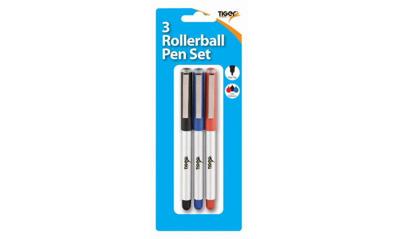 Tiger Rollerball Pens Carded 3 Pack, Black,Blue & Red