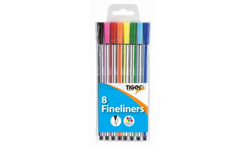 Tiger Coloured Fineliner Pens, 8 Pack of Assorted Colours in Hanging Wallet