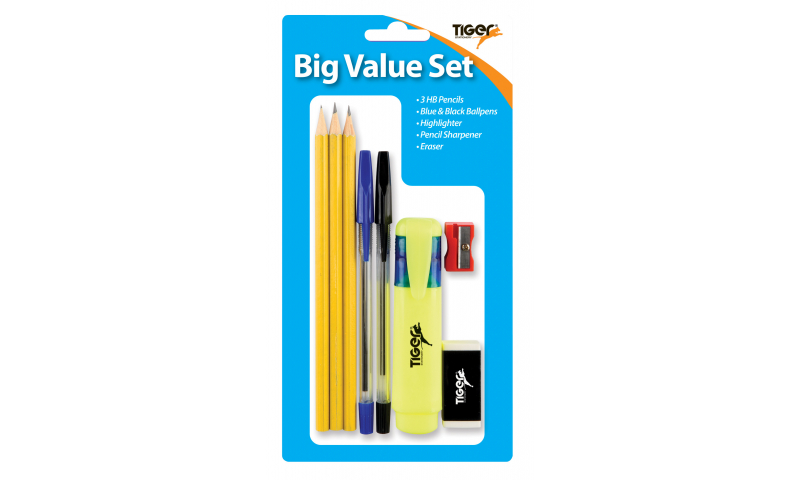 Tiger Big Value Student Writing Set, 8 Piece, Hangcarded