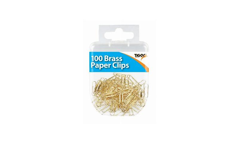 Tiger Essentials, 100 Paper Clips Small Brass