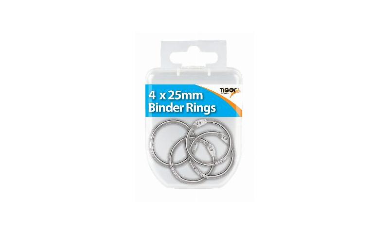 Tiger Essentials, 4 Binder Rings Chrome 25mm