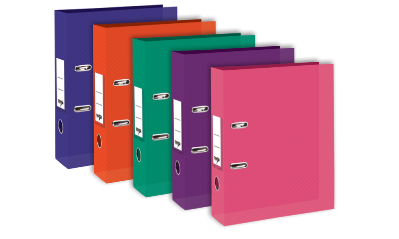 Tiger A4 Bright Colours Polyprop Lever Arch File, 75mm Spine with Metal Rado, Pull Ring, 5 Asstd