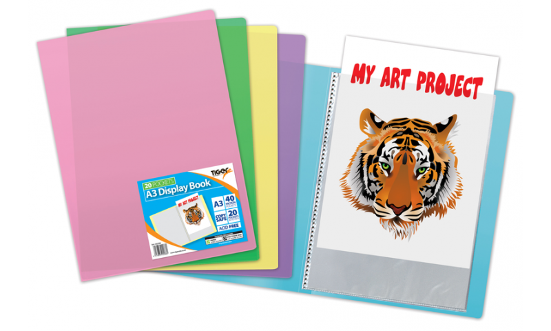 Tiger A3 Pastel Flexicover 20 Pocket Display Book, 5 asstd colours. (New Lower Price for 2021)