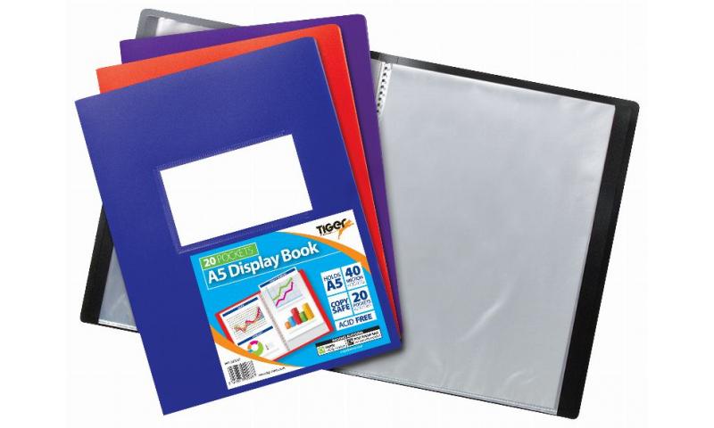 Tiger A5 20 Pocket ECO Flexicover Display Book, Card Holder on front, 4 Asstd
