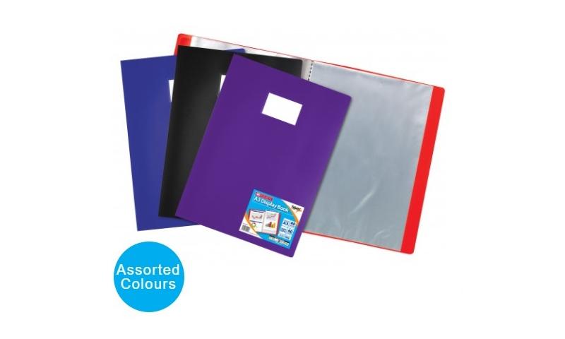 Tiger ECO A3 40 Pocket Flexicover Display Book, Card Holder on front, 4 Asstd