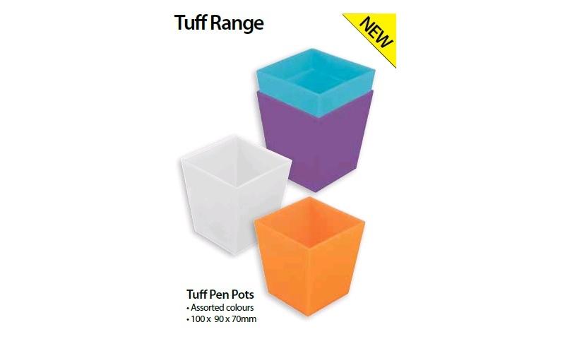 Tiger TUFF Polyprop Colourful Pen Pots, 4 Asstd, 100 x 90 x 70mm