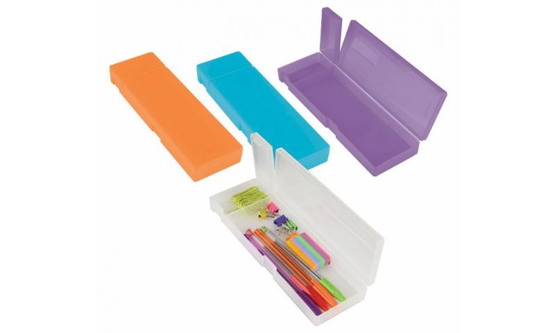 """Tiger Hard PP 8"""" Pencil Box. 2 Compartment, 4 Asstd"""