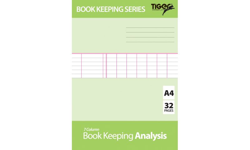 Tiger A4 Bookkeeping Books, 32 Page  - 4 Task Layouts