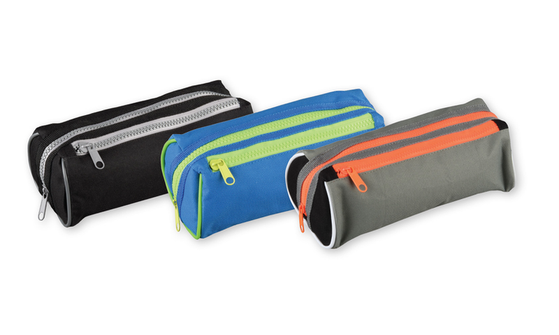 Tiger Chunky Twin Zip Canvas Pencil Case 3 Asstd Colours (New Lower Price for 2021)