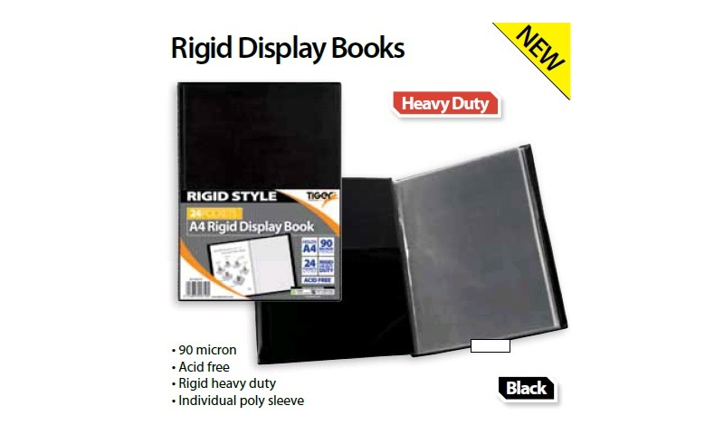 Tiger A4 Rigid Heavy Duty Black Display Book, 12 Pocket 90 Micron (New Lower Price for 2021)