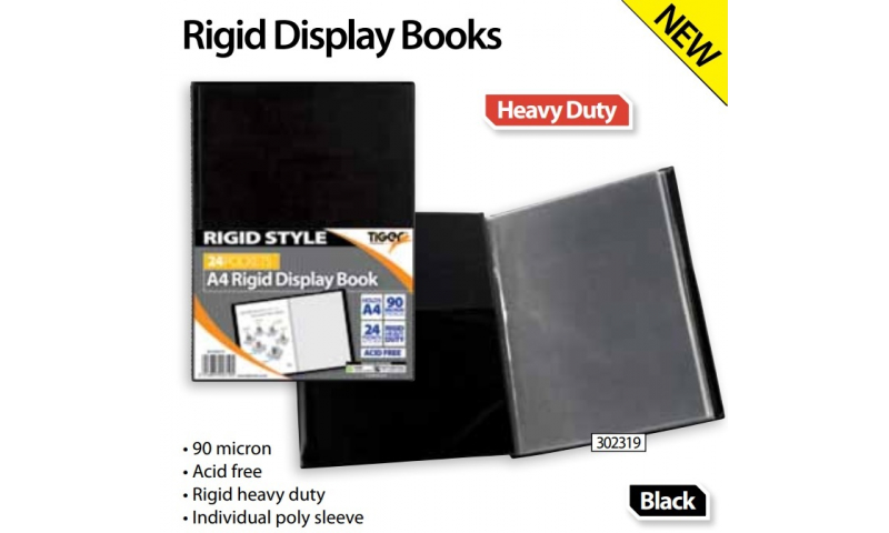 Tiger A4 Rigid Heavy Duty Black Display Book, 24 Pocket 90 Micron (New Lower Price for 2021)