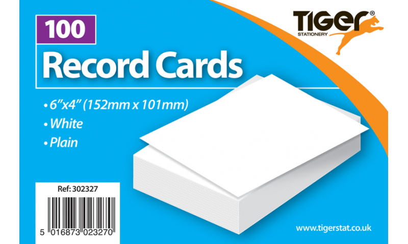 "Tiger Record Cards Plain 6x4"" 152x101mm 100 Pack."
