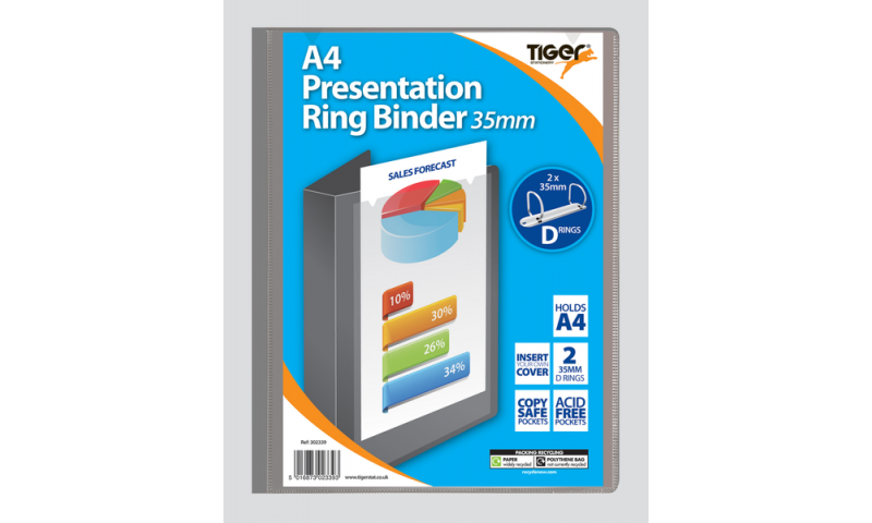 Tiger ECO A4 Presentation Ringbinder, 35mm Ring, 2 assorted, 100% Recycled Material