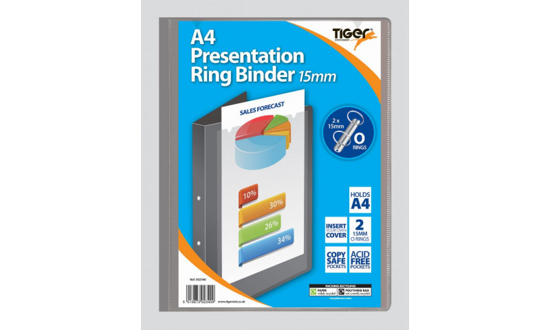 Tiger ECO A4 Presentation Ringbinder, Slim 15mm Ring, 2 assorted, 100% Recycled Material