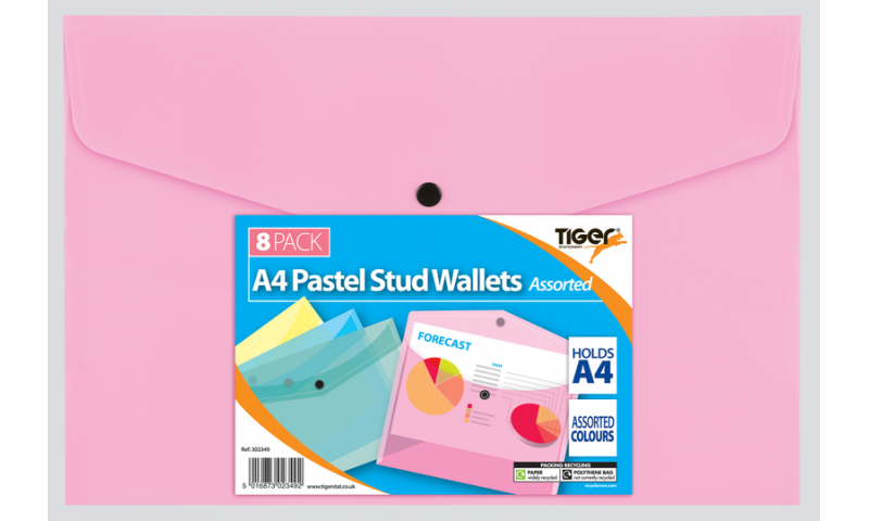 Tiger Pastel A4+ Stud Wallet, Pack of 8 assorted.
