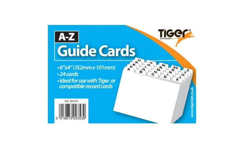 """Tiger A-Z Guide Cards 24 Tabs, Printed A-Z,  6""""x 4"""""""