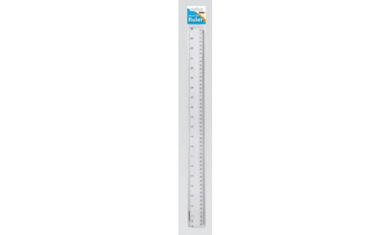 """Tiger Extra Length 20"""" / 50cm Clear Plastic Ruler, Hangpacked"""