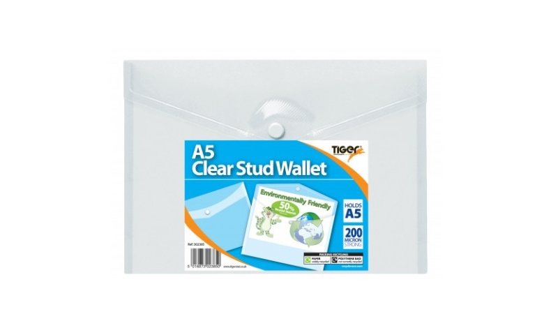 Tiger A5 Eco Stud Wallet Clear-50% recycled pack of 5