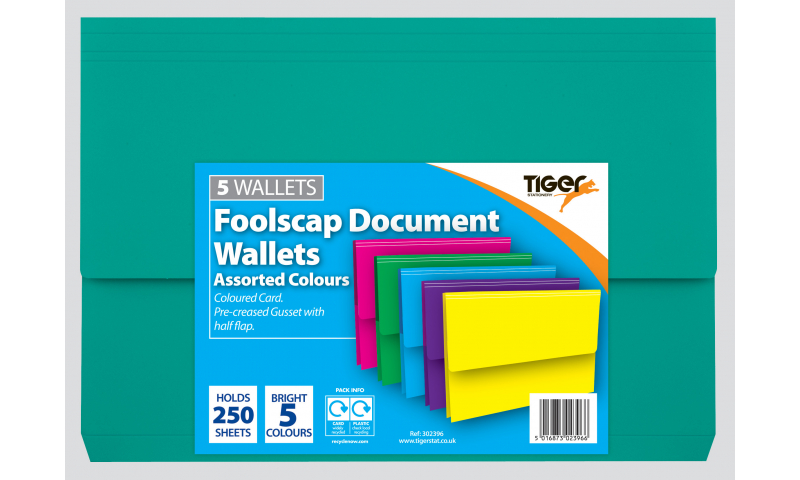 Tiger A4+ Card Document Wallet, Pack of 5 Bright assorted.