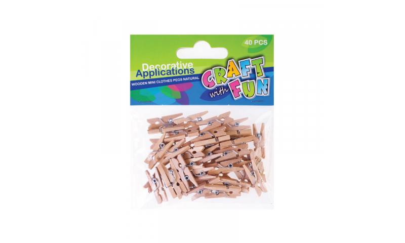 CRAFT with FUN WOODEN MINI CLOTHES PEGS Natural 18 PCS.  (New Lower Price for 2021)