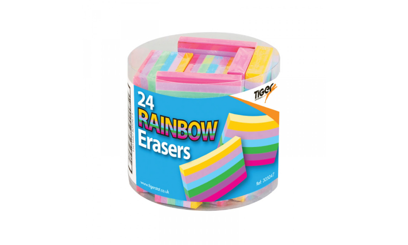 Tiger Rainbow Chunky Erasers, Tubbed.  (New Lower Price for 2021)