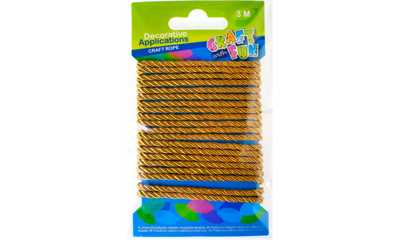Craft with Fun Gold Rope for Decoration 3 metre length. (New Lower Price for 2021)