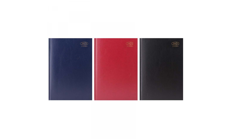 A4 Hard Cover, 2022 Appointments Diary, Daily with Full Day Saturday & Sunday, 3 Asstd Cols