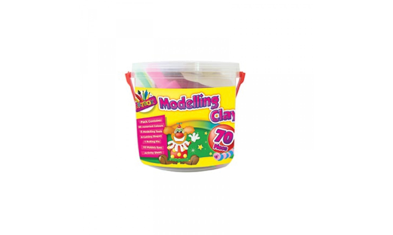 Artbox soft modelling dough, Bucket of 70pcs Including moulds & tools. (New Lower Price for 2021)