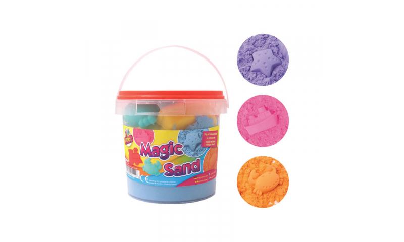 Plastic Bucket of Magic Coloured Sand & Modelling Tools