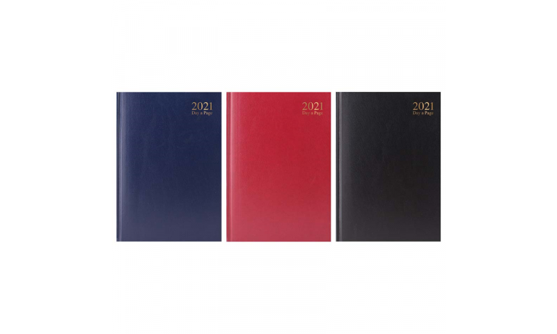 A5 Cloth & Sewn Hard Cover Office Diaries 2022, Daily, 3 Asstd Colours
