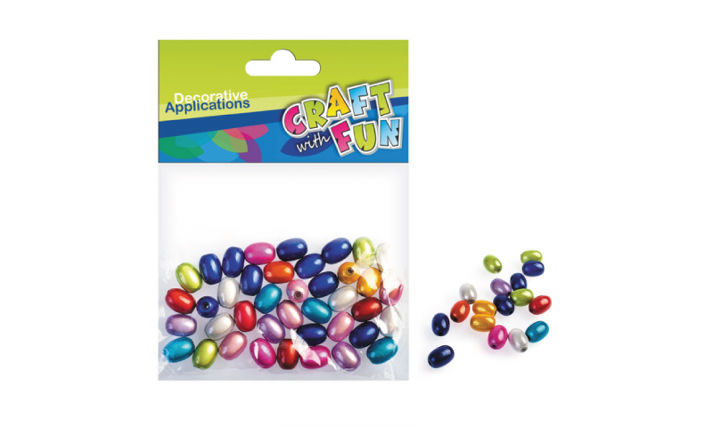 CRAFT with FUN Metallic Oval Beads 50pcs. (New Lower Price for 2021)