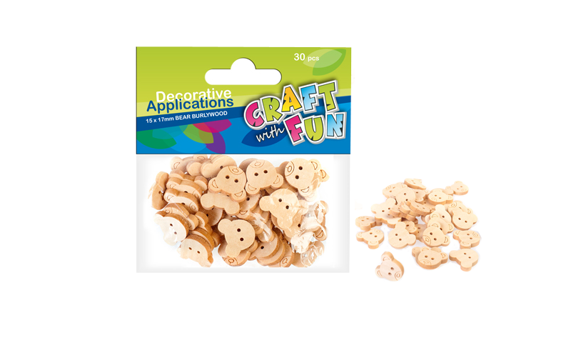 Craft with Fun Natural Wooden Button Bear Shape, 30pcs (New Lower Price for 2021)
