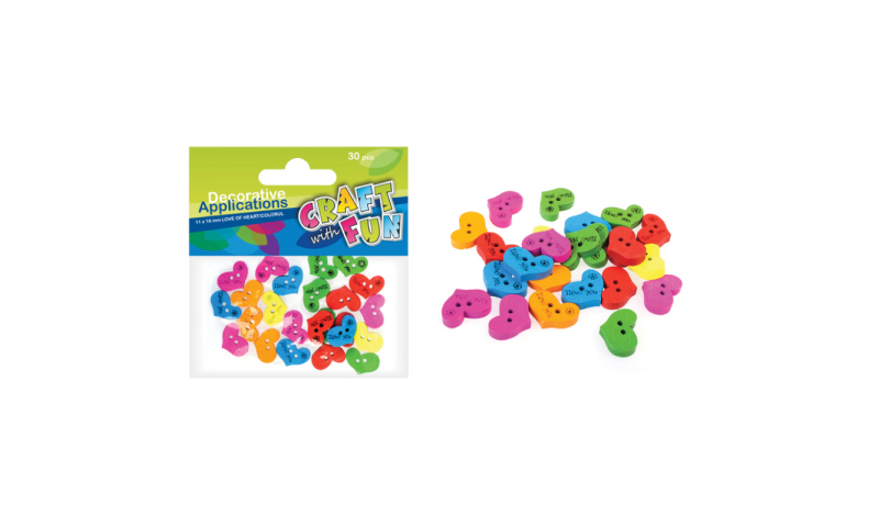 CRAFT with FUN WOODEN BUTTONS HEART ASSTD 50PCS.  (New Lower Price for 2021)